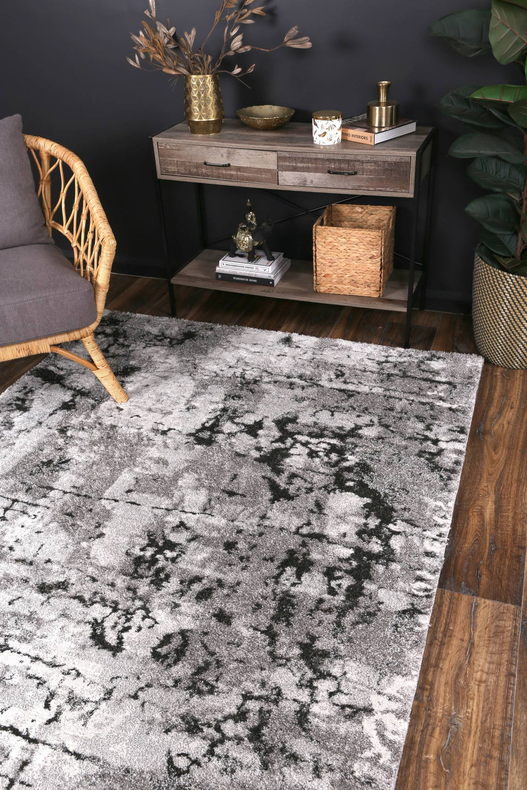 Yuzil Dark Grey Transitional Floral Rug