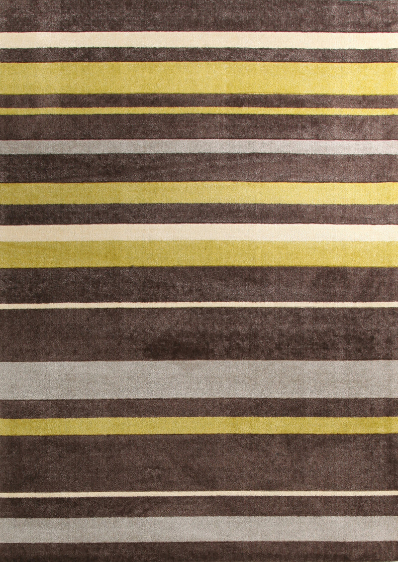 Stylish Stripe Rug Brown Green