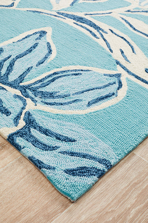 Whimsical Blue Floral Indoor Outdoor Rug