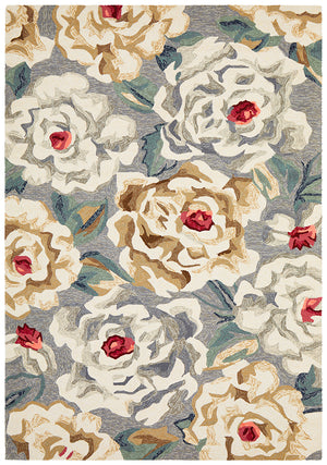 Gorgeous Peony Grey Indoor Outdoor Rug