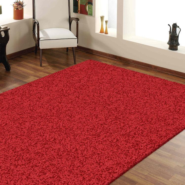 Comfort Shag Plain Red Rug