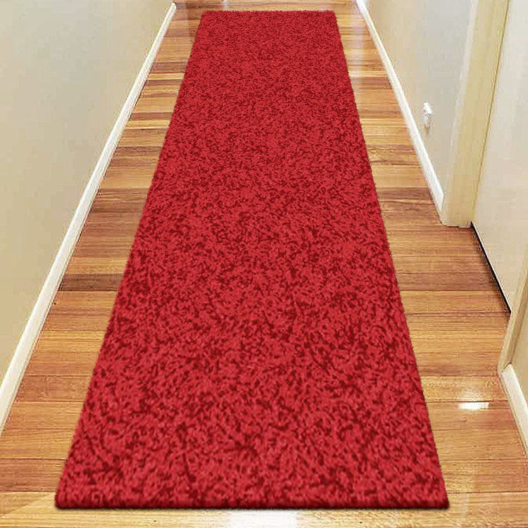Comfort Shag Plain Red Runner Rug