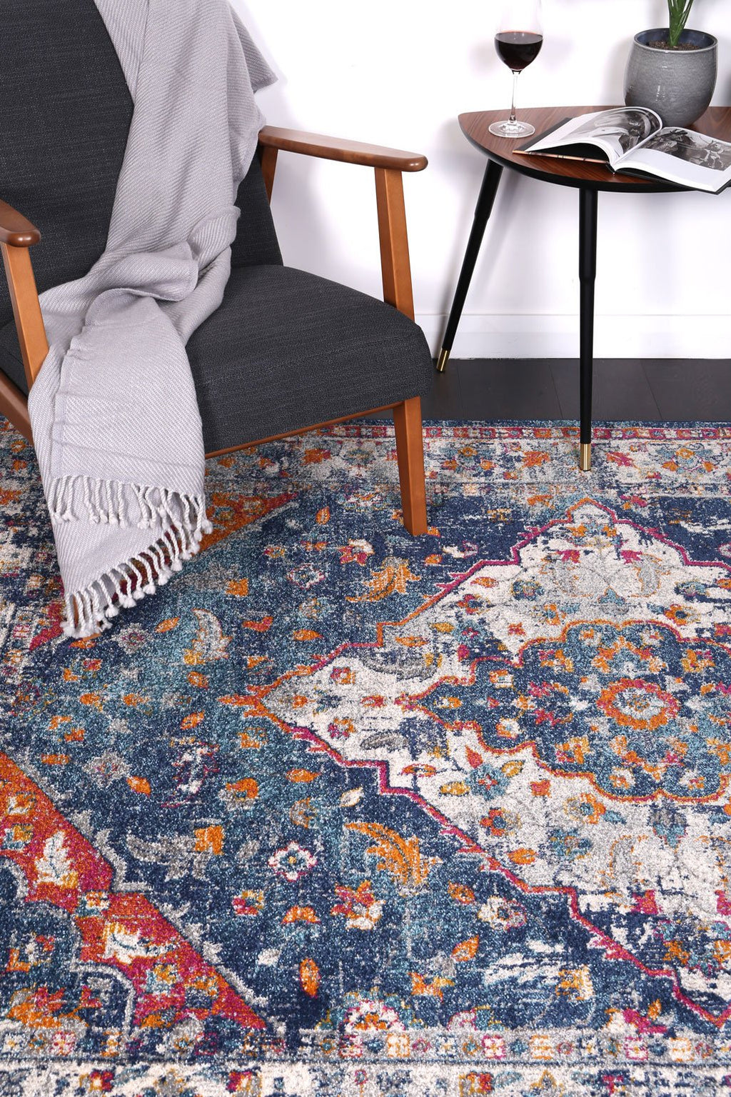 Graceful Oriental Navy Multi Rug