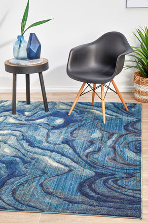 Waves Modern Indigo Rug