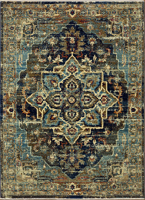 Twilight Sheen Navy Green Rug