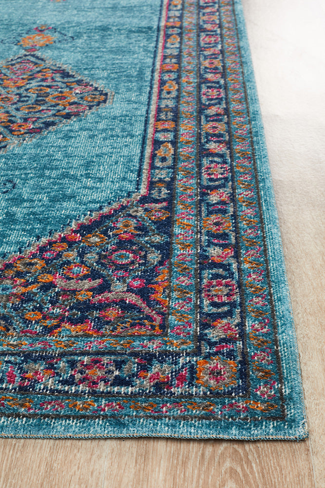 Whisper Diamond Blue Runner Rug