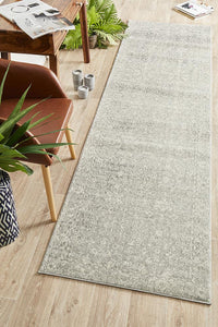 Summon Shine Silver Transitional Runner Rug