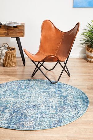 Summon Muse Blue Transitional Round Rug