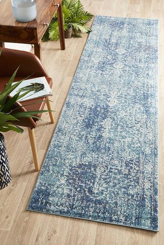 Summon Muse Blue Transitional Runner Rug