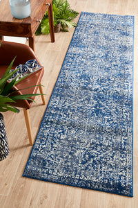 Contrast Navy Transitional Runner Rug