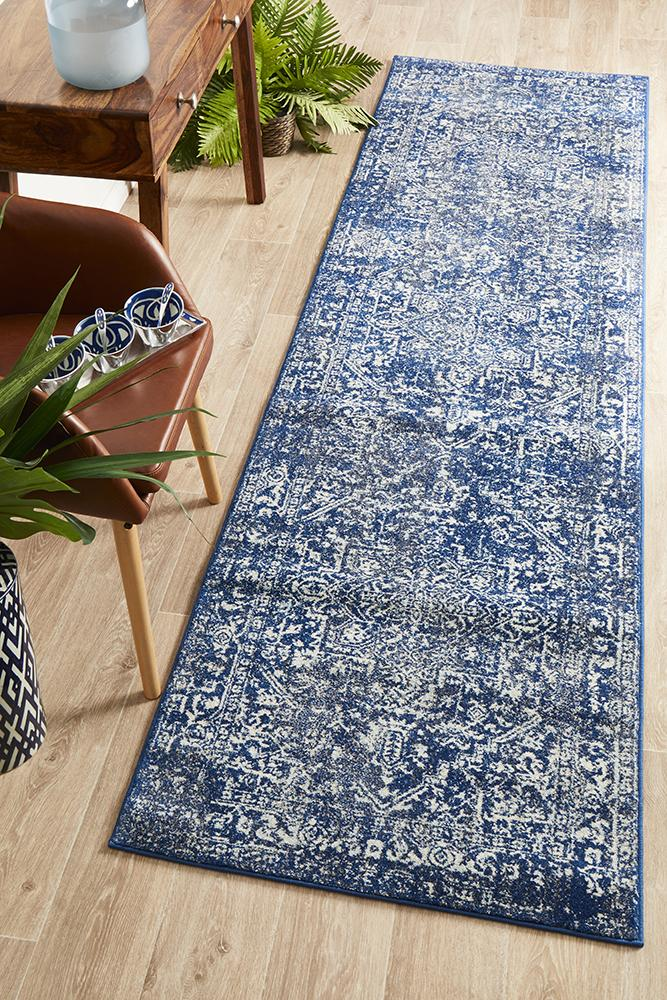 Summon Contrast Navy Transitional Runner Rug
