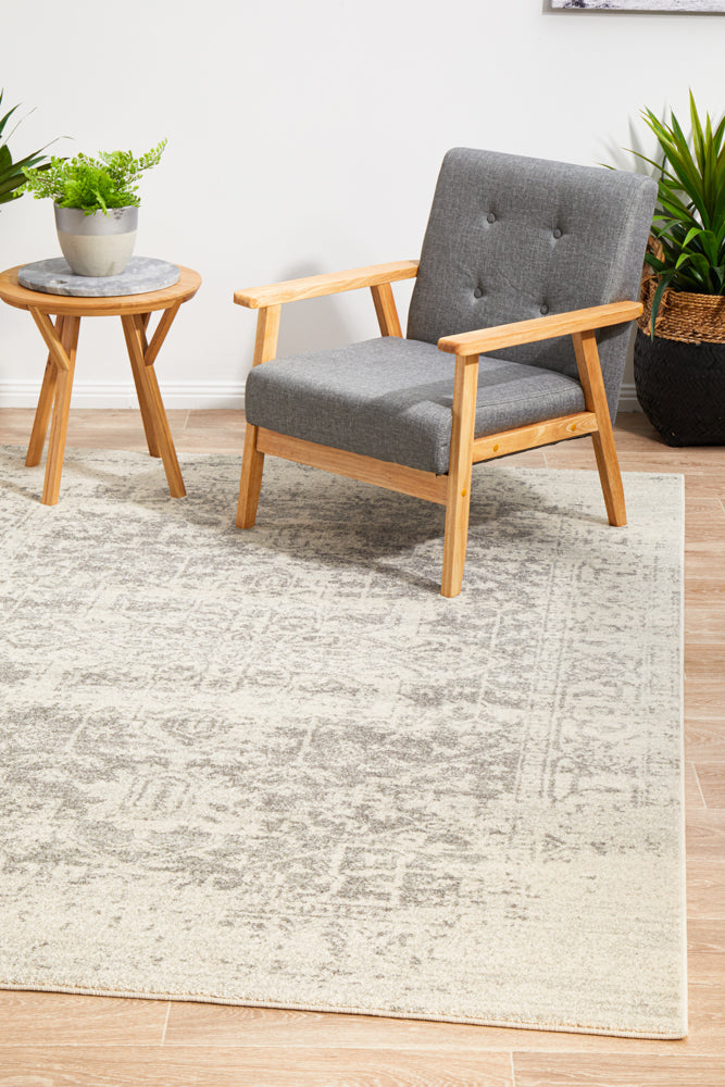 Summon Dream White Silver Transitional Rug