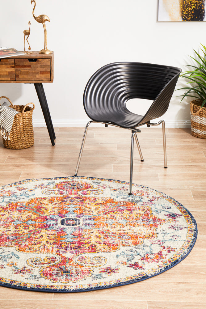 Carnival White Transitional Round Rug