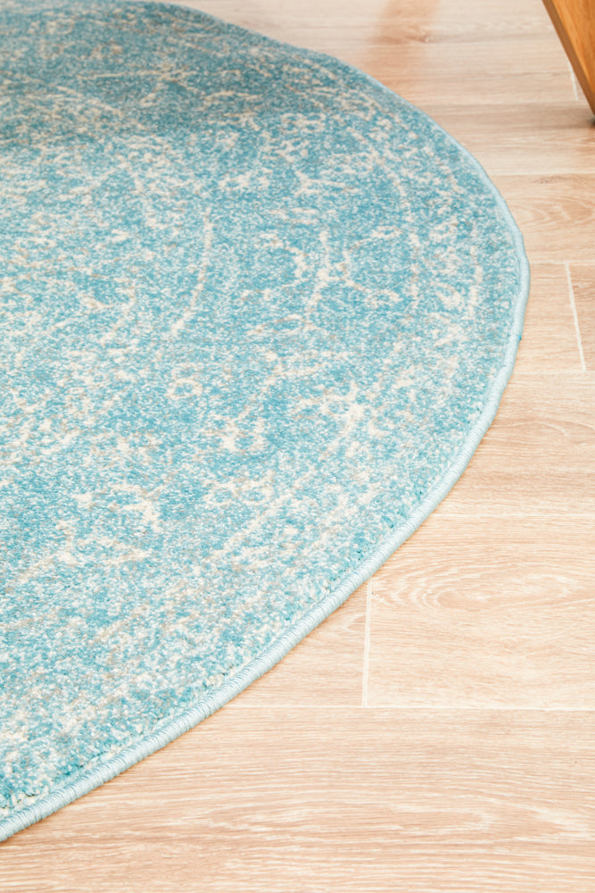 Summon Depth Blue Transitional Round Rug