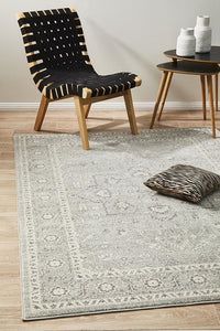 Summon Silver Flower Transitional Rug
