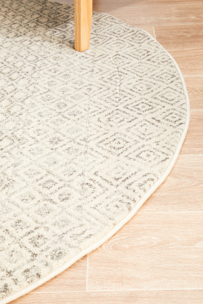 Summon Diamond Grey Transitional Round Rug