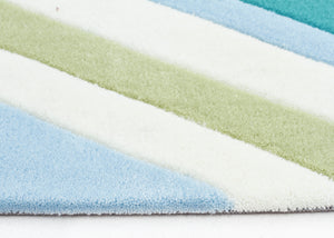 Multi Chevron Rug Light Blue Green