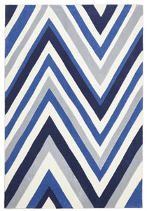 Multi Chevron Rug Navy Blue White
