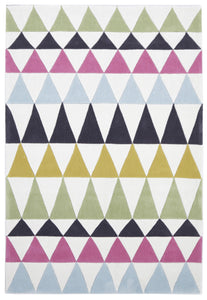 Modern Bunting Design Rug Multi Green