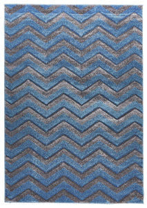Modern Chevron Design Blue Grey Rug
