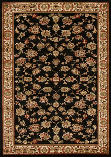 Traditional Floral Design Black Rug
