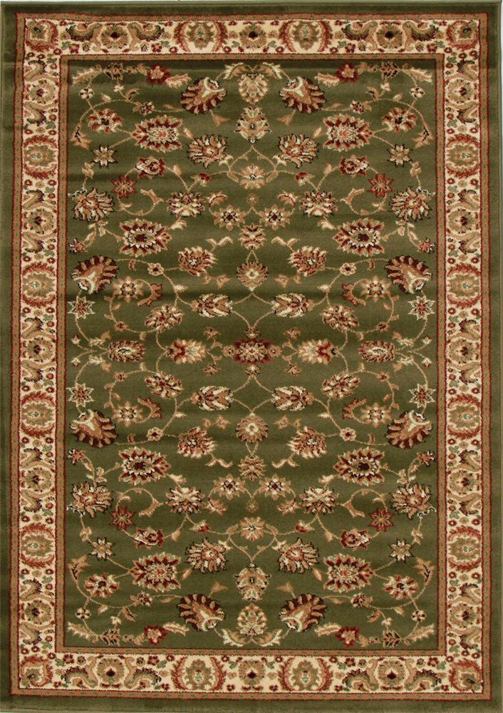 Traditional Floral Design Green Rug