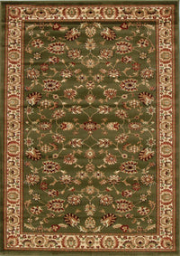 Traditional Floral Design Green Runner Rug