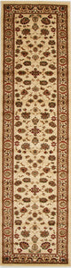 Traditional Floral Design Ivory Runner Rug
