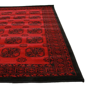 Classic Afghan Design Red Runner Rug