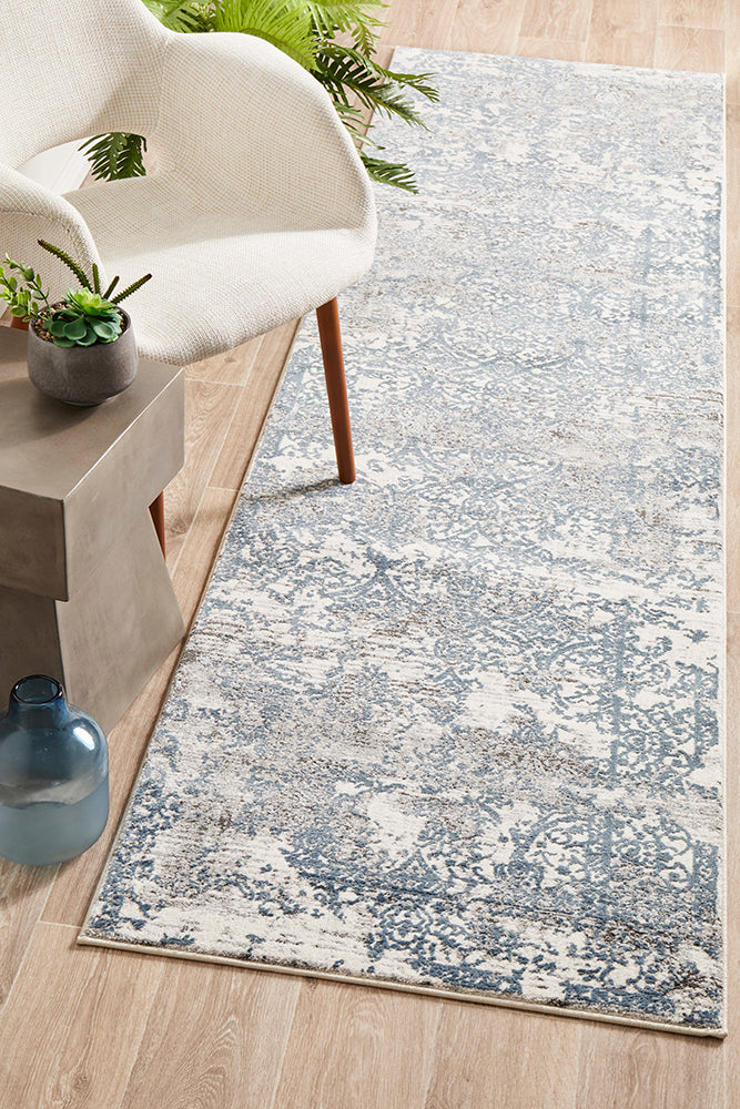 Yasmin Distressed Transitional White Blue Grey Runner Rug