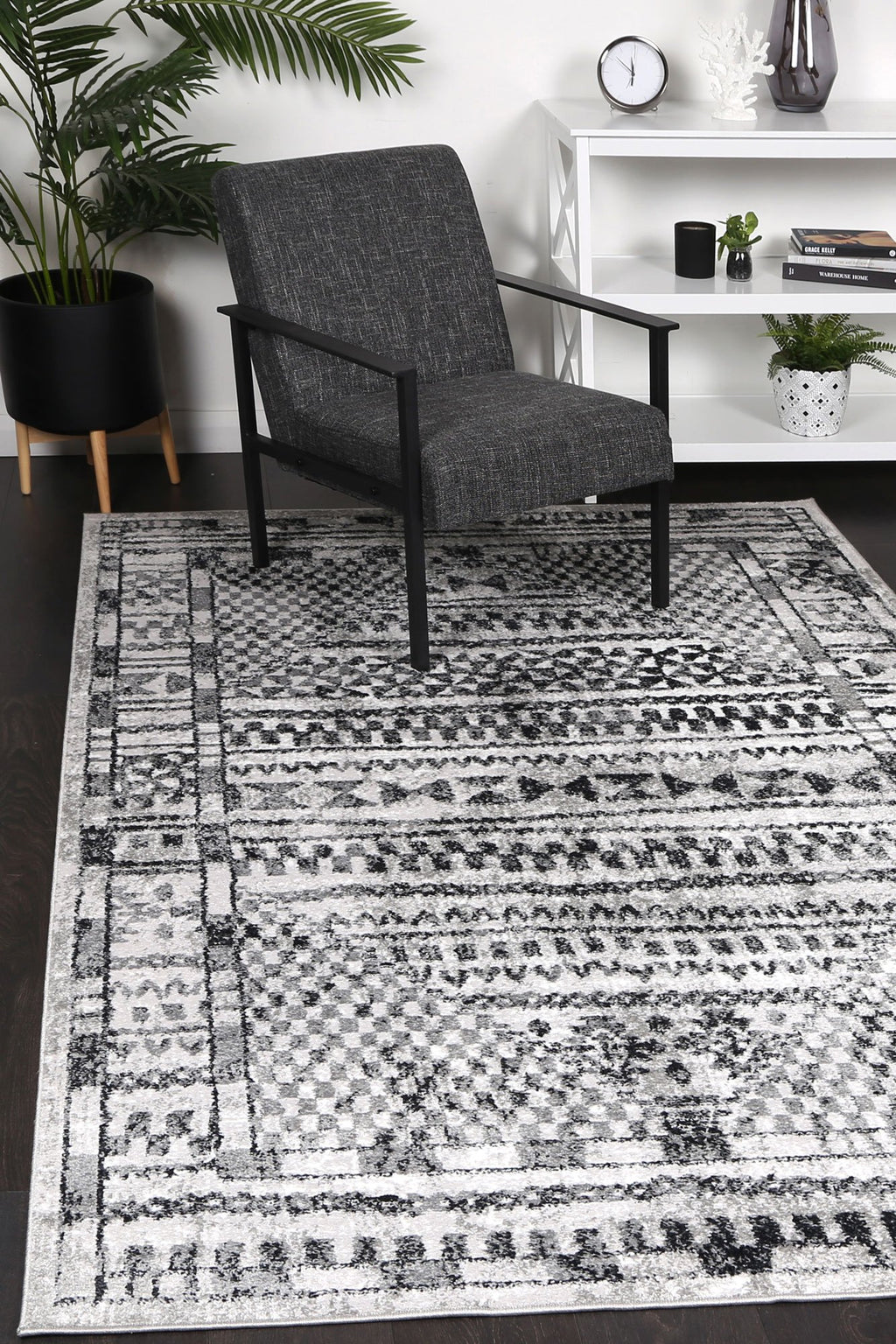 Paisley Tribal Charcoal Rug