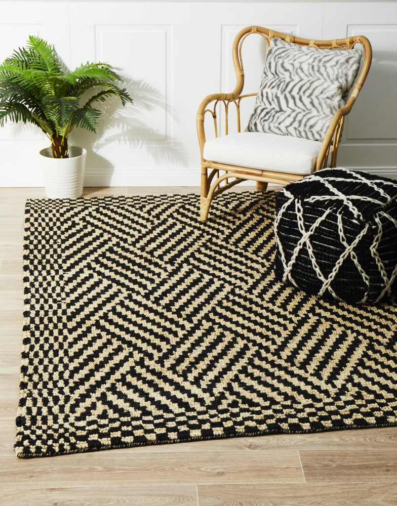 Kenya Tribal Natural Black Jute Rug