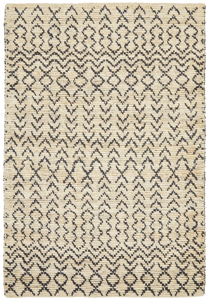 Coastal Tribal Natural Black Jute Rug