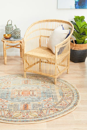 Bequest Relic Sky Blue Round Rug