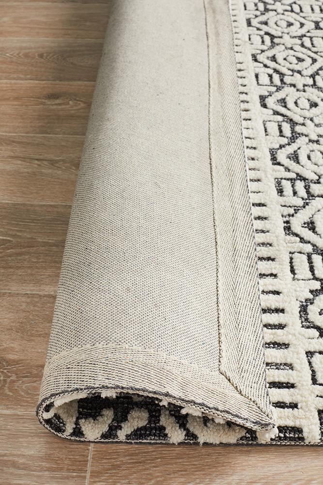 Denim Apollo Ivory Black Rug