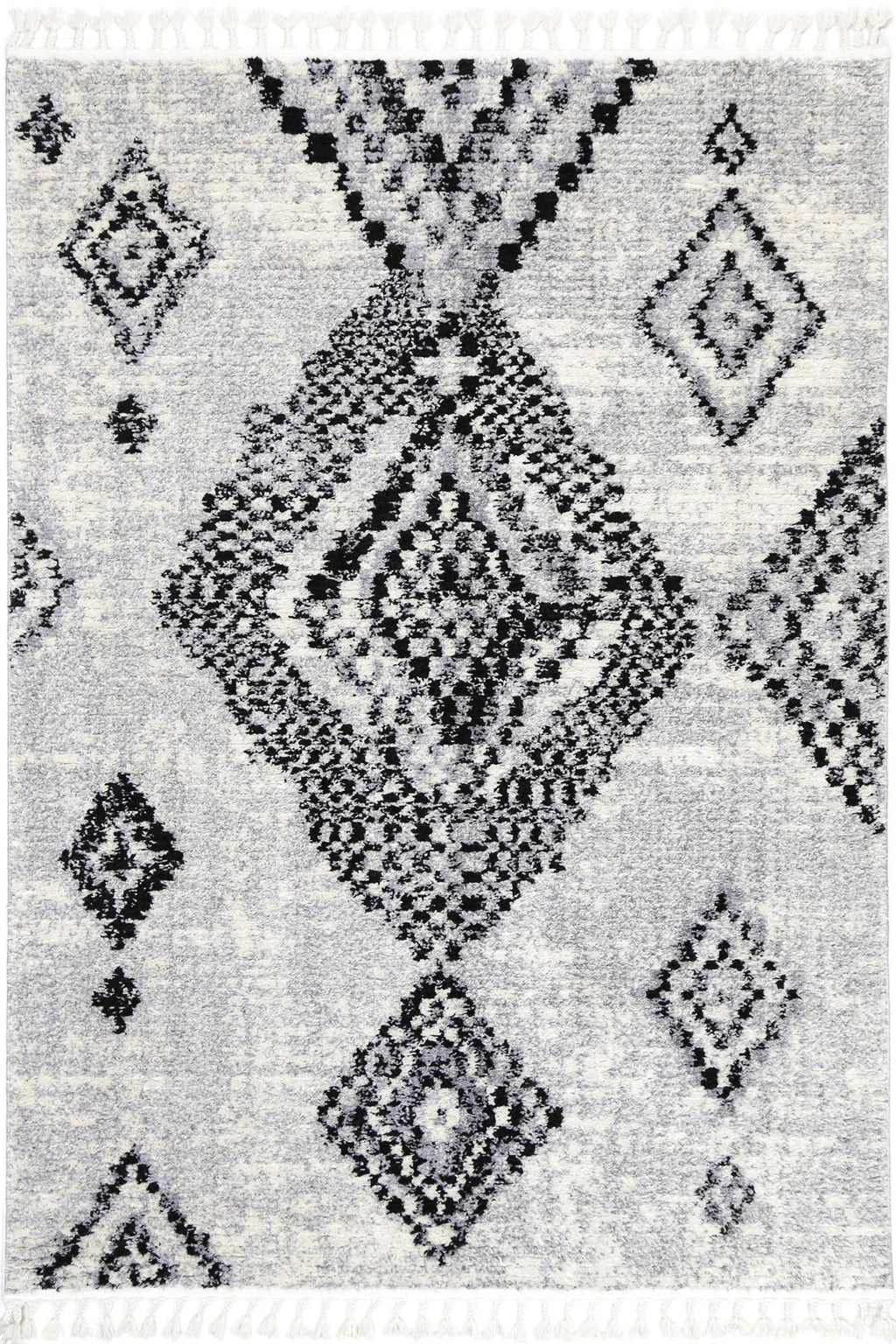 Mansur Grey Boho Diamond Rug