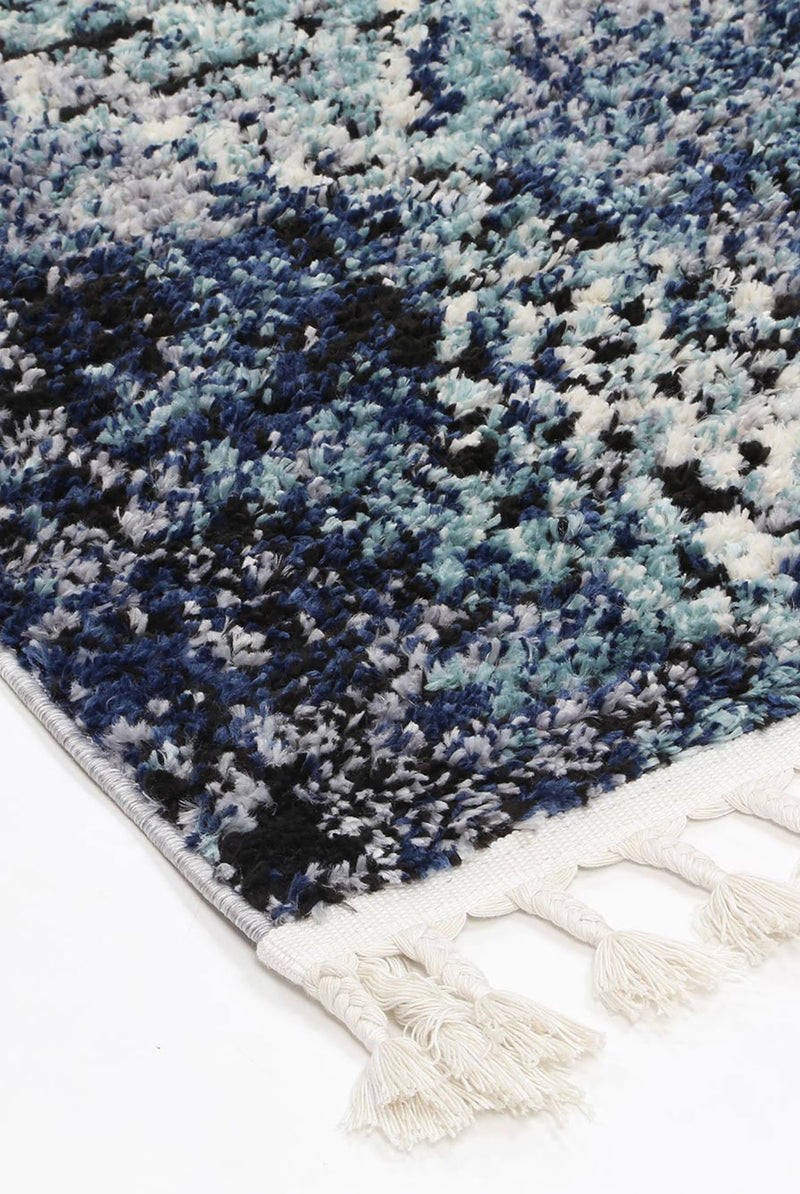 Mansur Navy Blue Diamond Abstract Rug