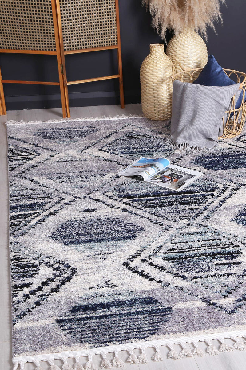 Mansur Navy Blue Diamond Rug