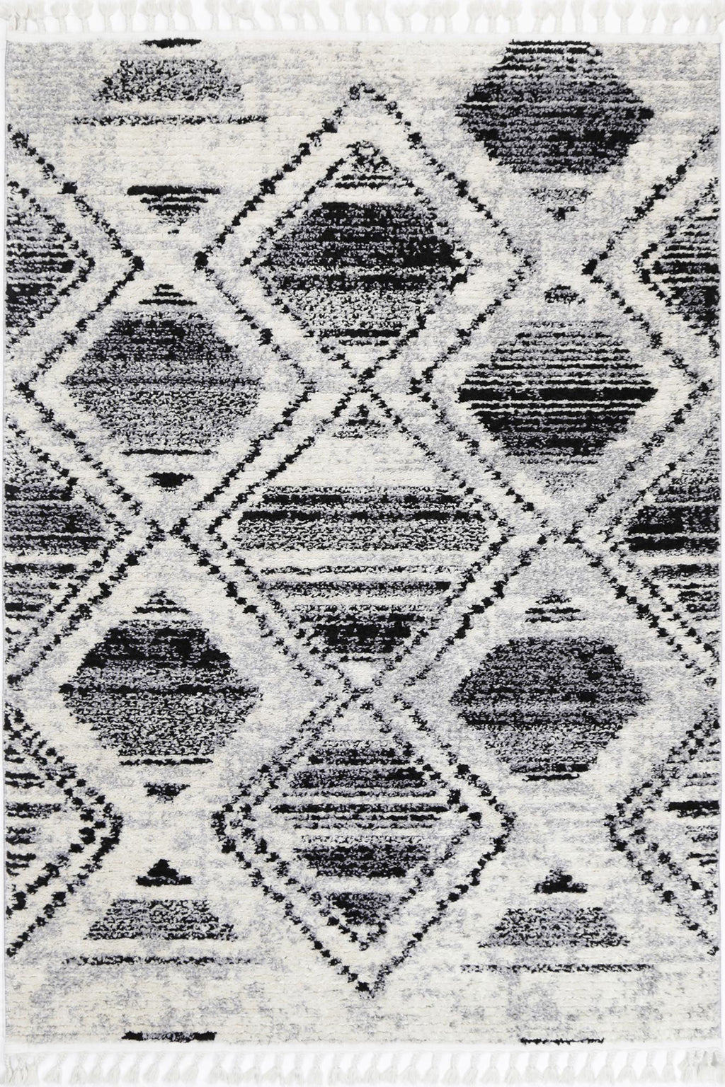 Mansur Black White Diamond Rug