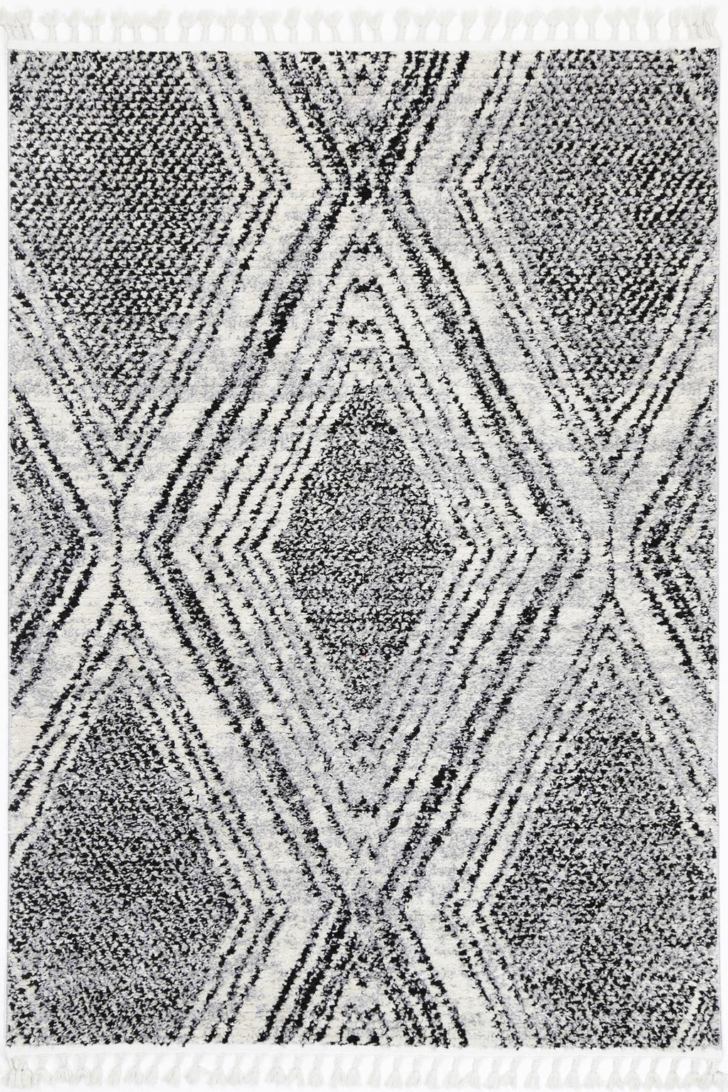 Mansur Black White Geometric Rug