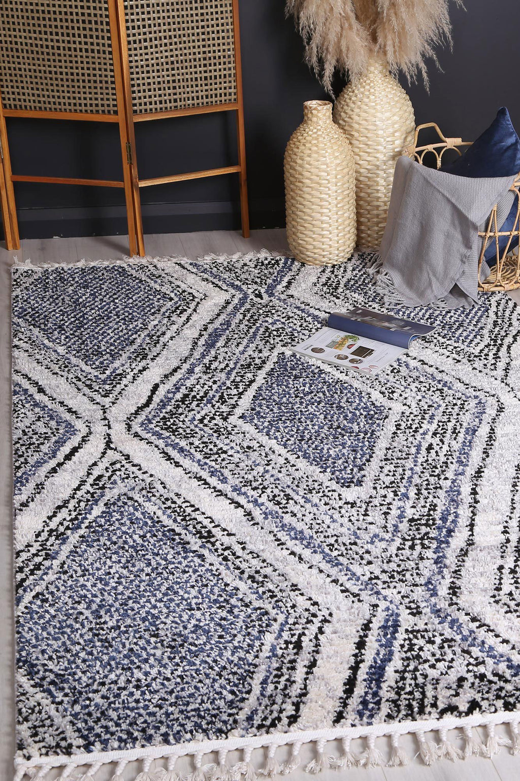 Mansur Navy Blue Geometric Rug