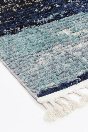Mansur Navy Blue Abstract Rug