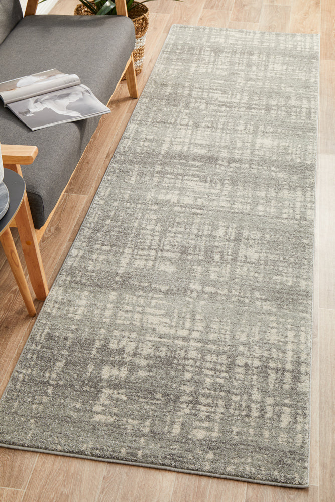 Ashley Abstract Modern Silver Grey Runner Rug