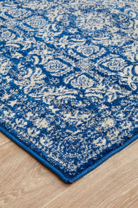 Gwyneth Stunning Transitional Navy Runner Rug