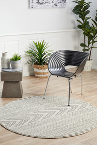 Adani  Modern Tribal Design Grey Round Rug