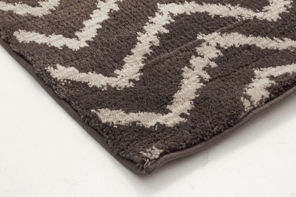 Moroccan Chevron Design Rug Brown Beige