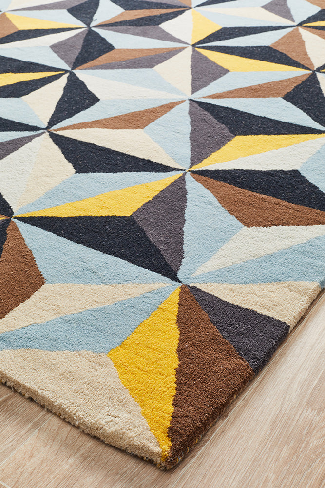 Crystal Designer Wool Blue Rug