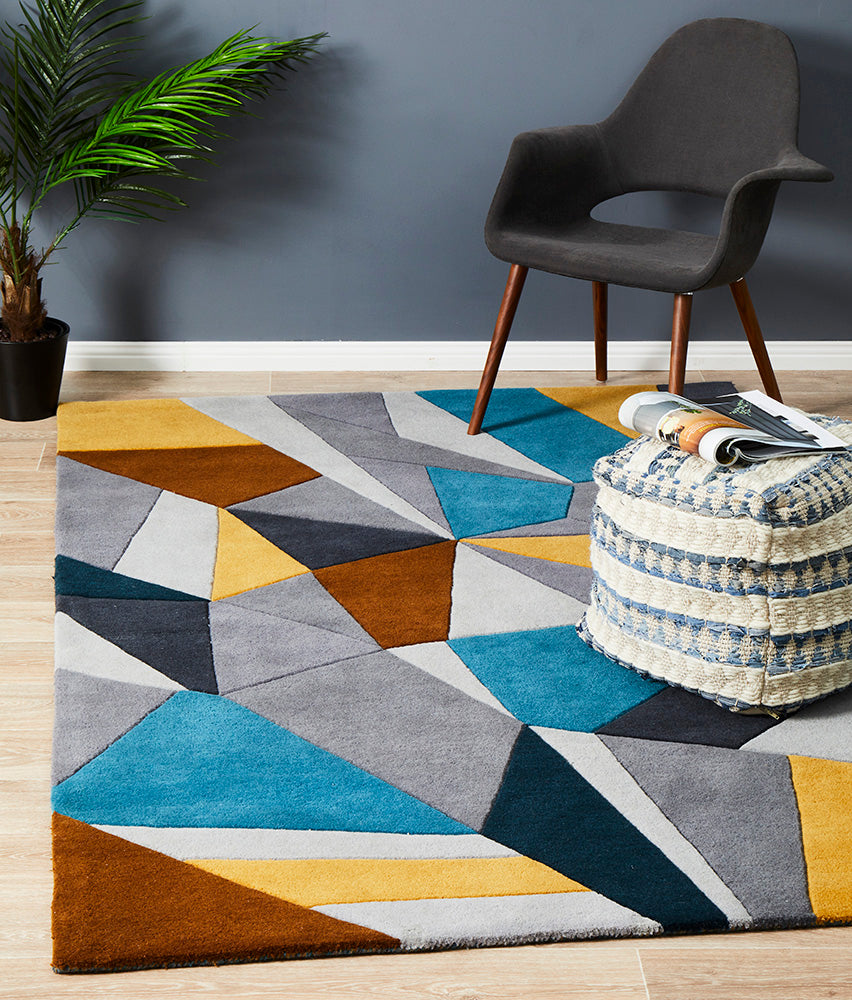 Laura Designer Wool Blue Yellow Grey Rug