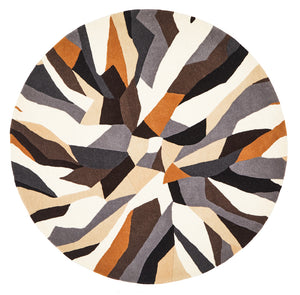 Crossroads Designer Wool Round Rug Brown White Grey