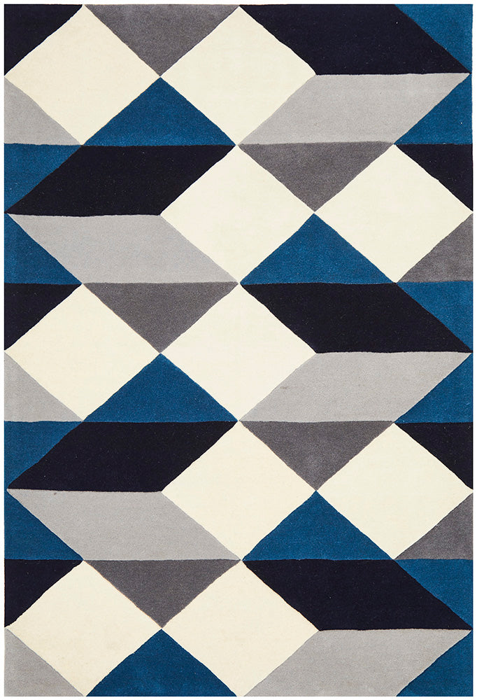 Digital Designer Wool Blue Grey White Rug